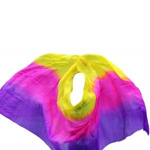 Image 5 - New style Belly dance veils 100% silk veils handmade gradual color veils can be customized