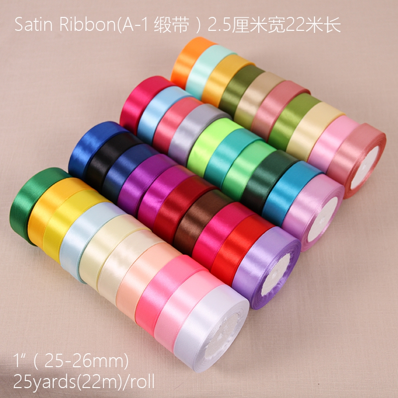 60 color 25yards Satin Ribbon 25mm 22 Meters Wedding Silk Ribbon Party Car Decoration Tapes Crafts Festive Events Supplies C
