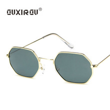 цена Hexagon Sunglasses Women metal frame Polygon Sunglasses men Brand Designer Blue Pink Clear Lens Sun Glasses Square Female S674 онлайн в 2017 году
