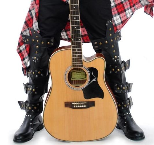 Bout Longue Discothèque Boucle Chaussures D'équitation Étape Cowboy Bottes Botte Rivets De Punk Moto Spectacle Noir Japon Hommes Rond DIH29YWE