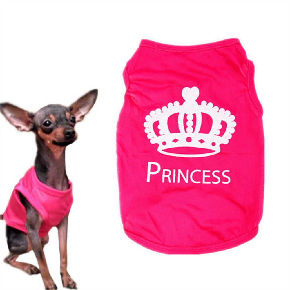 1 PC Pet Clothes For Small Dog XS-L Fashion Pet Dog Cat Cute Princess T-shirt Clothes Vest Summer Coat Puggy Costumes