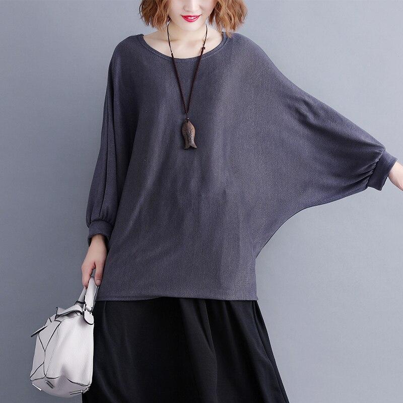 Korean 2019 Spring and Summer New Big Size Women T-shirts Women Tshirt Top  Cotton  Casual  Full  O-Neck  Batwing Sleeve Tshirt