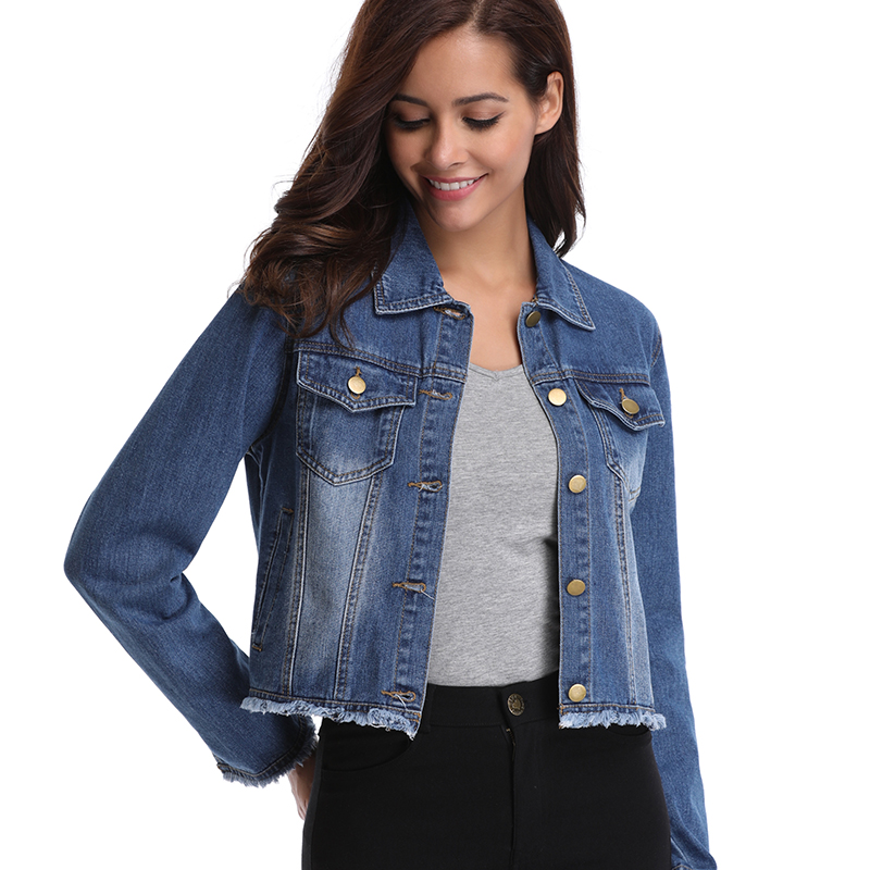 aafd0659a5503 Womens Cotton Denim Jackets Button Up Turn Down Collar Frayed Denim Washed  Crop Long Sleeves Coat W 2 Chest Flap Pockets-in Basic Jackets from Women s  ...