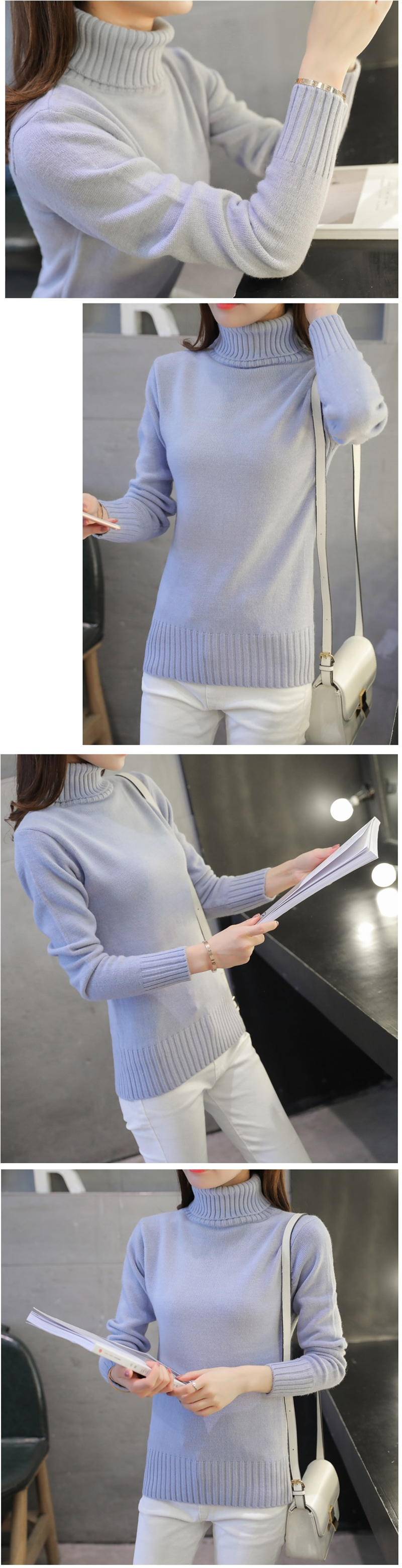 18 New Autumn winter Women Knitted Sweaters Pullovers Turtleneck Long Sleeve Solid Color Slim Elastic Short Sweater Women K861 9