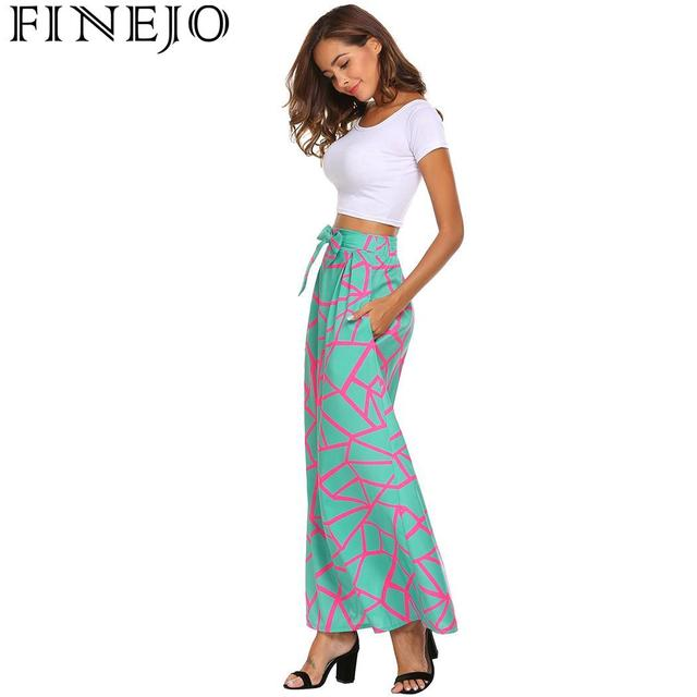 FINEJO Feminina Saias Summer Boho Beach Maxi High Elastic Waist Vintage Style Women Long Skirt Lace-up Casual Fashion Saia 4