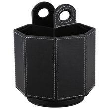PU Leather Rotatable Remote Control Holder Storage box for TV Phone Eyeglasses black plain weave
