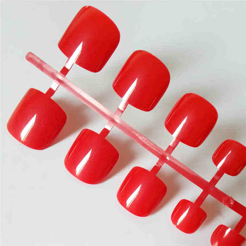 24pcs Sexy Red Squoval Fake Toe Nails Short Artificial Clear Press On Toenails Medium Solid Fashion False Nails Feet For Girls