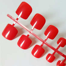 24pcs Sexy Red Squoval Fake Toe Nails Short Artificial Clear Press On Toenails Medium Solid Fashion False Feet For Girls