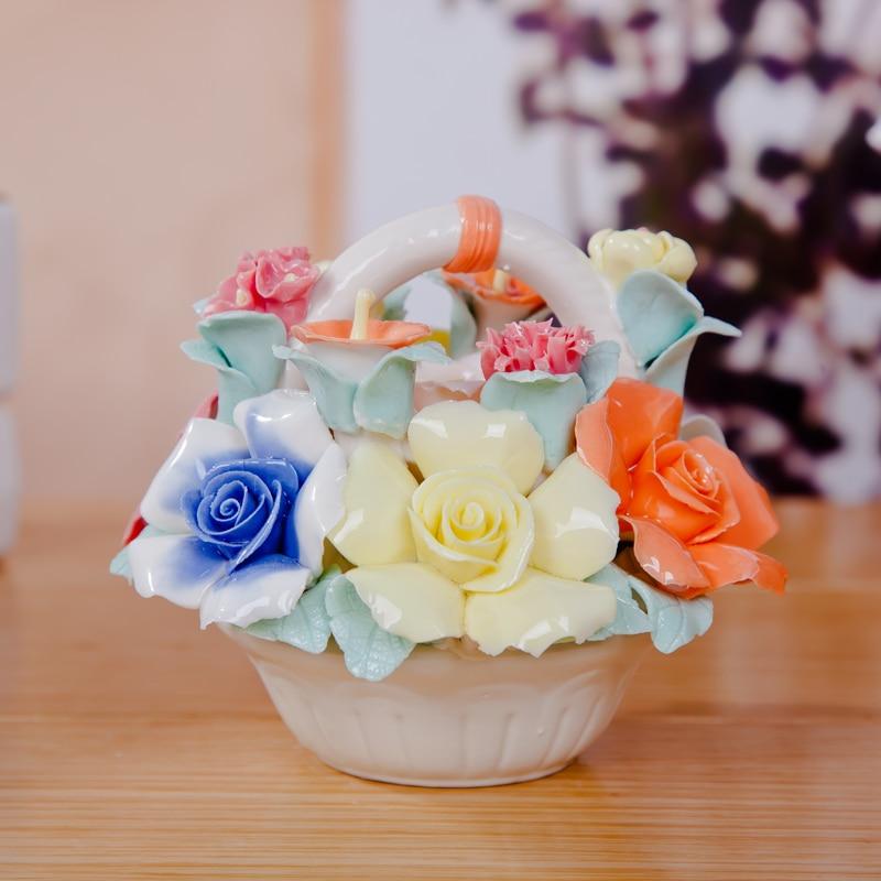 Rose ceramic flower basket romantic romantic home for Rose home decorations