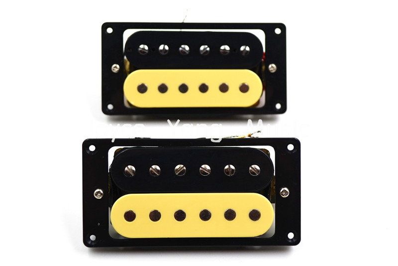 1 Set of 2pcs Zebra Humbucker Double Coil Pickups Neck&Bridge For LP Electric Guitar Pickups 1 set of 2 one black one yellow humbucker double coil electric guitar pickups