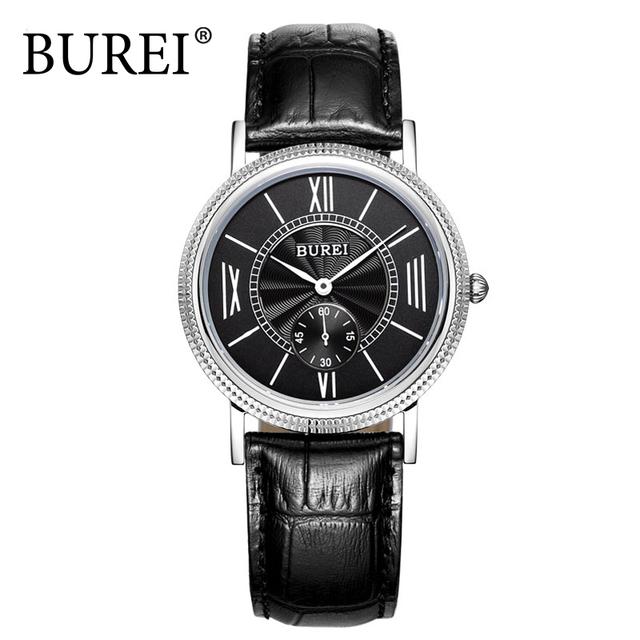 BUREI Amantes Casal Relógio de Luxo Homens Pulseira de Couro Relógio De Quartzo Das Mulheres relógio de Pulso Moda Relógio de Safira À Prova D' Água Reloj Mujer