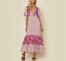 pink floral print dress V-neck women long maxi summer dresses kimono sleeves ruffles drawstring waist dress female