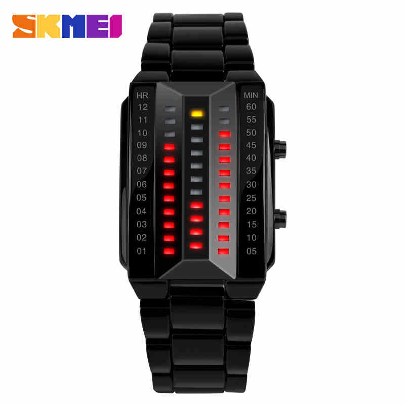 Relogio Masculino Fashion Skmei Watch Lovers LED Men Women Stainless Steel Red Binary Luminous Electronic Display Sport Watches