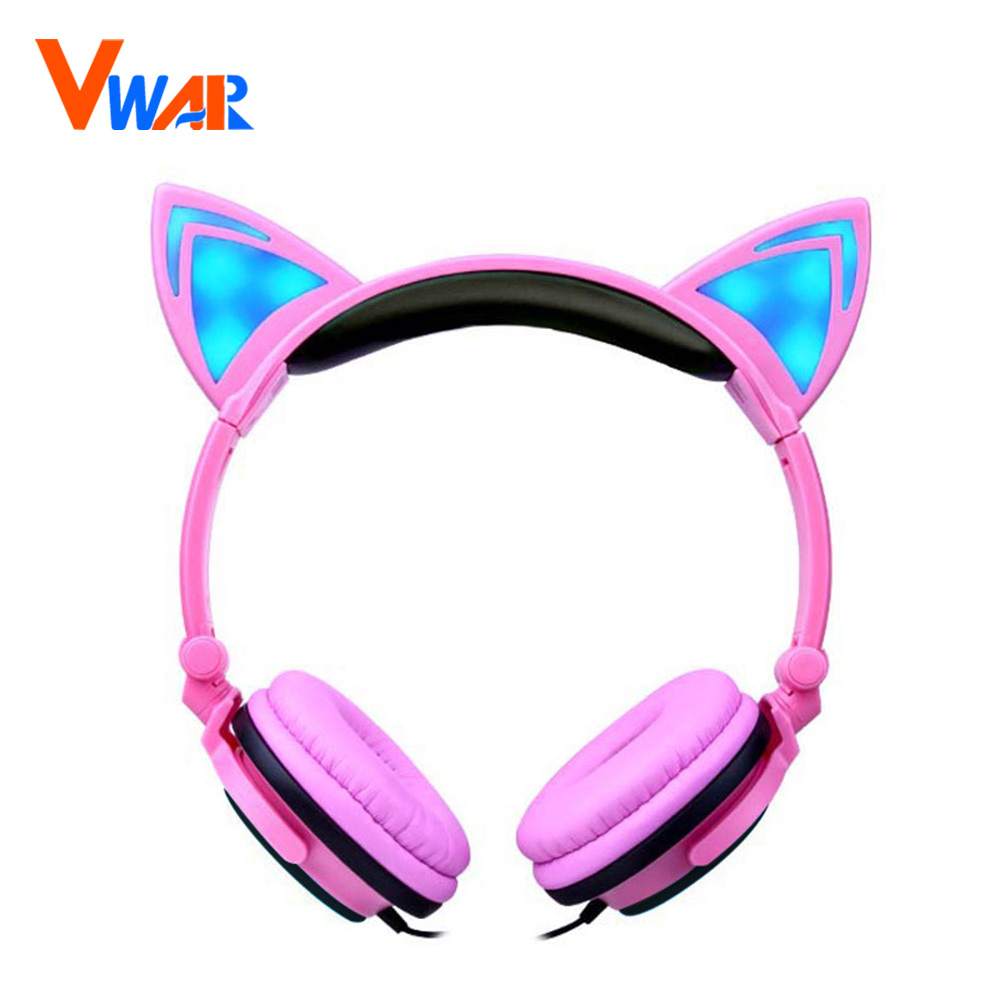 1Pc Foldable Flashing Glowing Cat Ear Headphones Gaming Music Headset Earphone With LED Light For PC Laptop Mobile Phone MP3 MP4 each g8200 gaming headphone 7 1 surround usb vibration game headset headband earphone with mic led light for fone pc gamer ps4