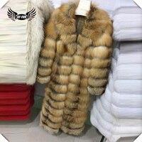 BFFUR Luxury Natural Red Fox Fur Coat X Long Warm Slim Fox Fur Slim Overcoat Oversized