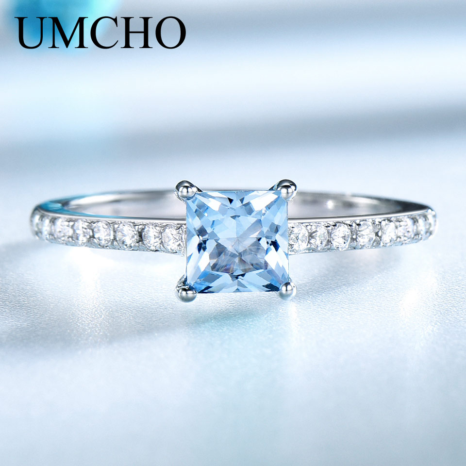 UMCHO Sky Blue Topaz Anillos Para Mujeres Sólido Real 925 Plata - Joyas - foto 2