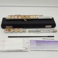Музыка любитель клуб Япония промежуточных стандартов флейты MFCFL 412 посеребренные флейта позолоченный ключ 17 отверстий открытое отверстие