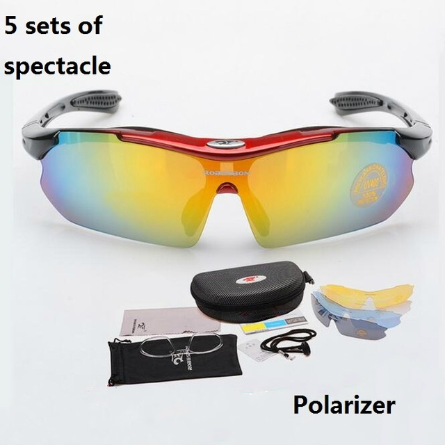 f3f5a3344c65f2 Nieuwe Sport Man Zonnebril Road Fietsen Bril Mountainbike Fietsen  Bescherming Goggles Eyewear 5 sets van spektakel