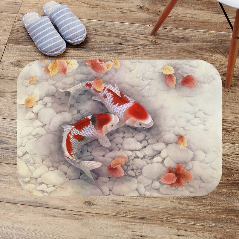100% Quality Fancy Carp&koi Bath Mats Anti Slip Toilet Rug Kitchen Bedroom Carpet Custom Doormat Soft Bathroom Door Mat Alfombra Bano Bathroom Products