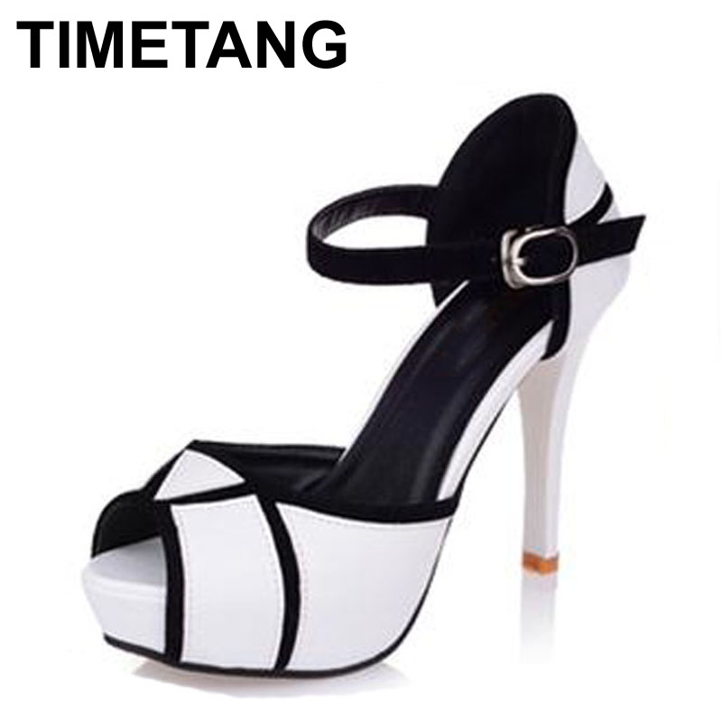 TIMETANG Free Shipping 2017 Hot Vogue High Heels Shoes Fashion Party Pumps Lady Sexy Buckle Platform Sandals Hot Sale Size 35-39 цены онлайн