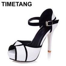 Timetang livraison gratuite 2017 hot vogue talons hauts chaussures de mode partie Pompes Dame Sexy Boucle Plate-Forme Sandales Vente Chaude Taille 35-39
