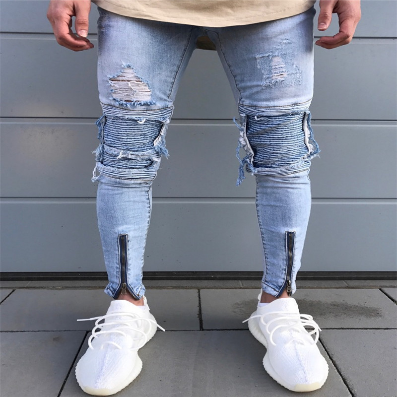 2018 New Men Ripped Holes Jeans Zip Skinny Biker Jeans Light-blue Jeans With Pleated Patchwork Slim Fit Hip Hop Jeans Men Pants