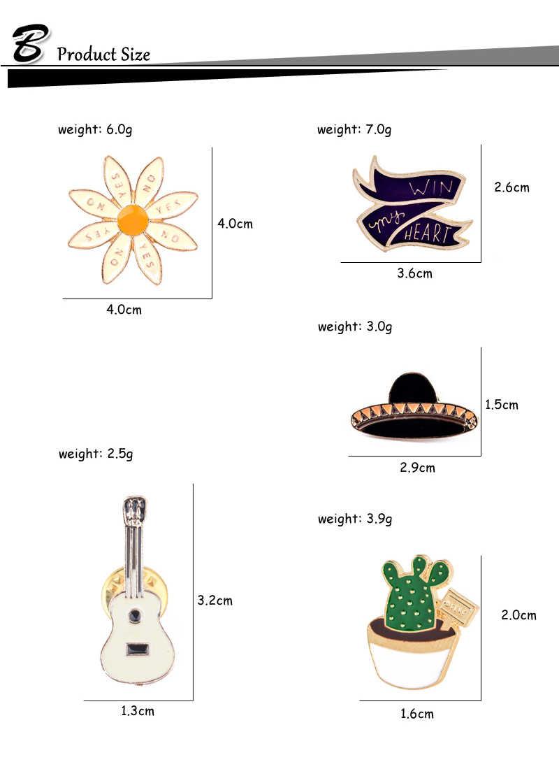 """Fashion Topi Gitar Cactus """"Memenangkan Hati Saya"""" Bunga Enamel Bros Pin Lencana Logam Gadis Wanita Jeans Tas Dekorasi bros Perhiasan"""