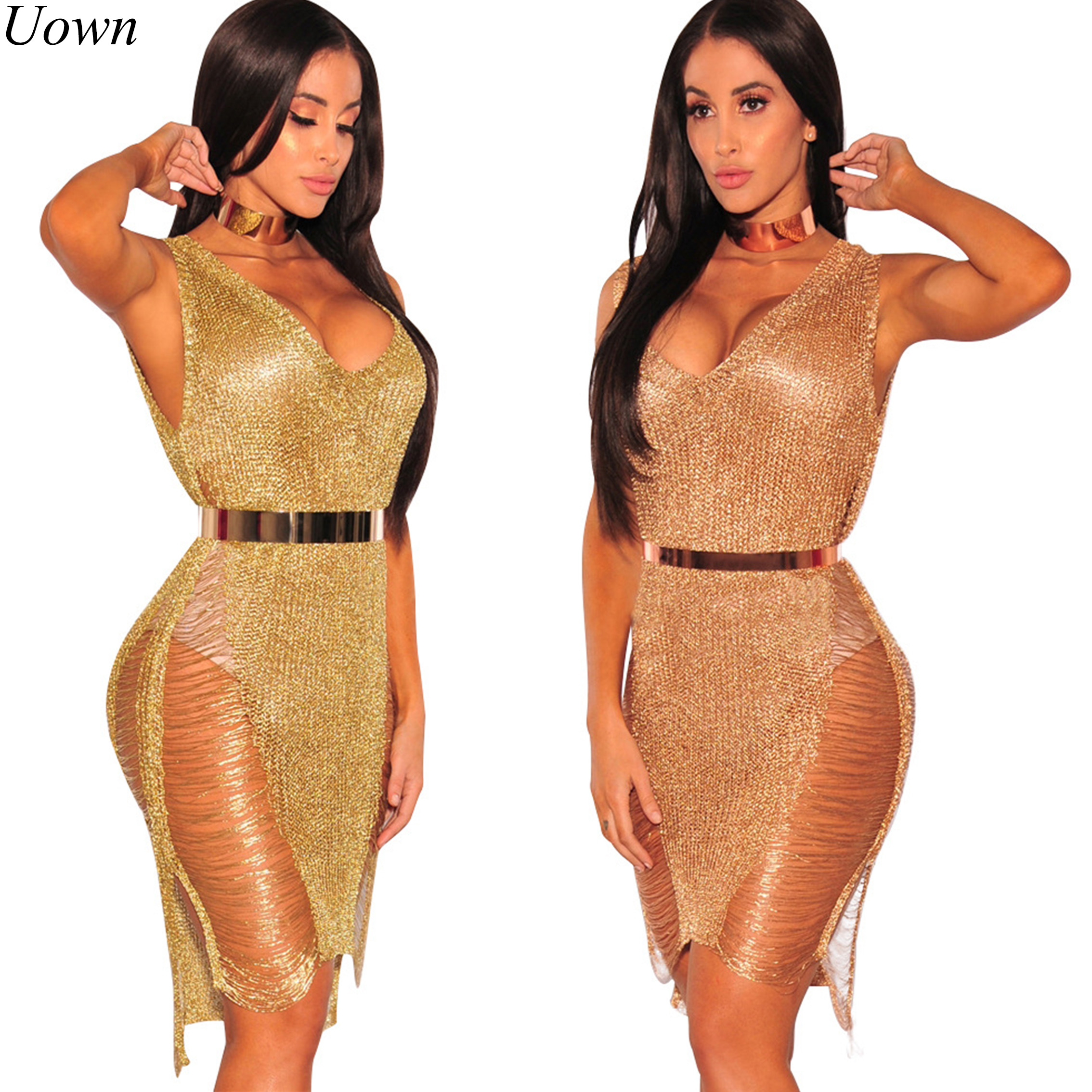 Ladies Summer Beach Dress Women Elegant Crochet Sexy Backless Hollow Out Club Party Night Emas Sequin Dress Vestido tanpa Belt