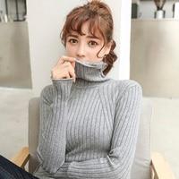 The new turtleneck female winter thickening set head pile collar shirt sleeved slim short all match sweater