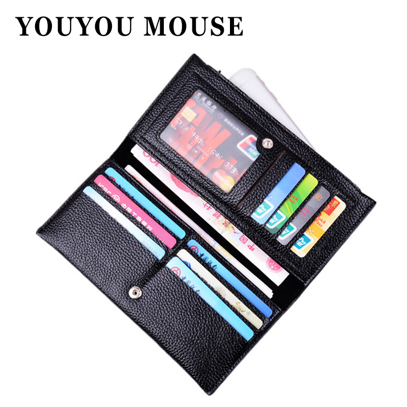 YOUYOU MOUSE Fashion Litchi Pattern Women Wallets Soft PU Leather Money Bag Wallet Female Clutch Long Zip Coin Purse Card Holder auau soft leather women wallets bowknot clutch bag long pu card purse wallet for womens rose red