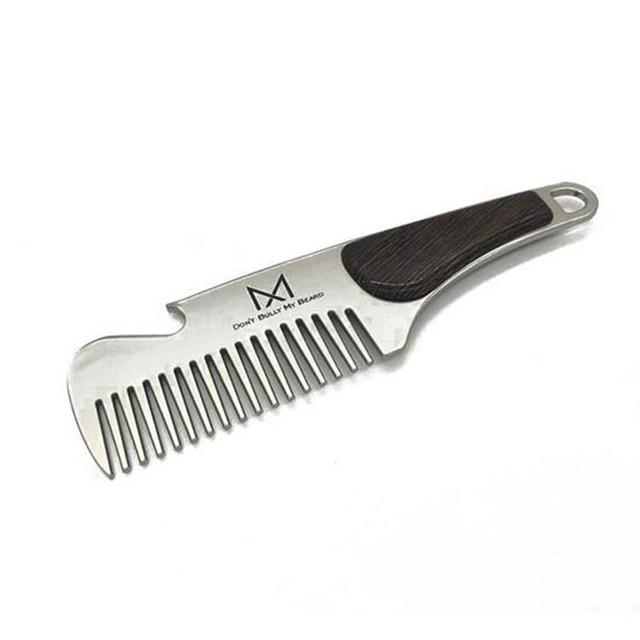 1pc Portable Male Beard Comb Stainless steel Men's Shaving Anti-static Pocket Mustache Brush 12.6X3.5cm 1