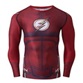 Christmas Costume Marvel Avenger The Flash Cosplay 3D Printed Long Sleeve T-shirts Men Raglan Compression Tops Fitness Tee