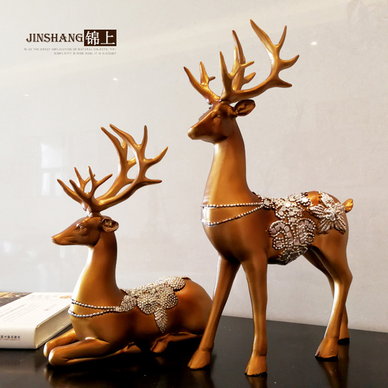 Креативный олень орнаменты украшения для дома гостиная винный шкаф смолы фигурки животных Изысканные Подарки - 3