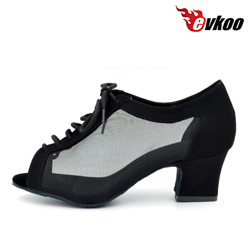 Evkoodance Dancing Shoes Black Tan 4.5 Cm Cuban Low Heel Open Toe Woman Practice Latin Salsa Ballroom Dance Shoes Evkoo-004