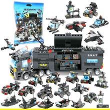 8 en 1, estación de juguete de policía de ciudad SWAT, arma, arma, bloque ensamblado, juguetes de bloques de construcción para niños, Compatible con regalo clásico
