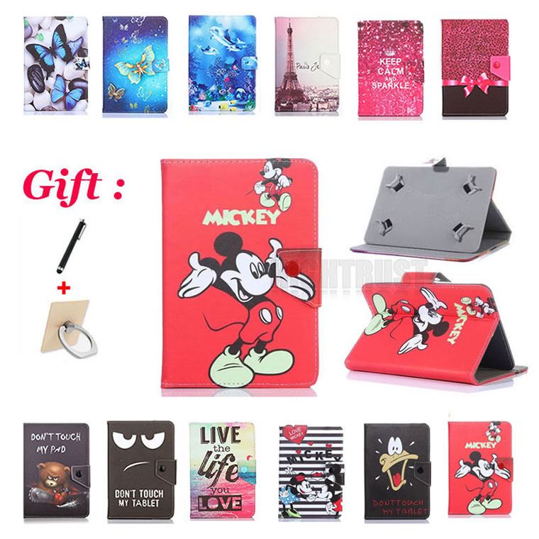Universal 10.1 Inch Cartoon Pu Leather Stand Case For Samsung Galaxy Tab 2 10.1 P5100 P5110 P7500 P7501 P7510 10.1