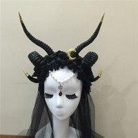 Gothicpunk Ram Horns Headband with Moon Steampunk Hair Accessory Horn Headband Flowers Horns Headdress Hair Accessories