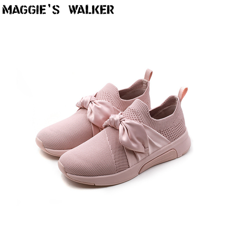 Maggie's Walker Women Fashion Casual Shoes Shallow-mouth Knitted Cloth Casual Shoes Spring Platform Walking Shoes Size 35~40