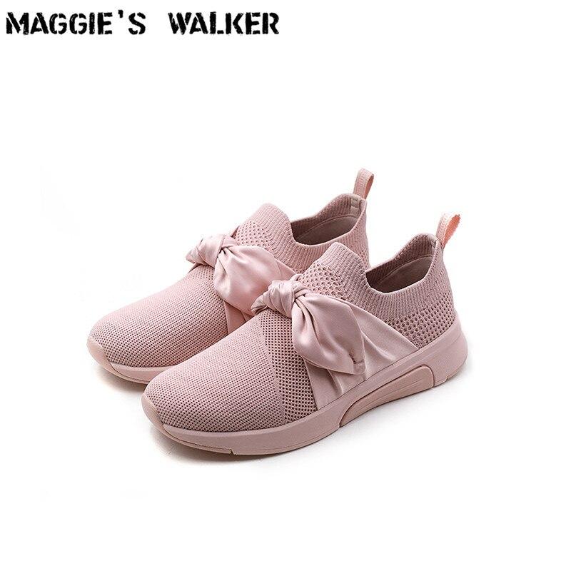Maggie's Walker femmes chaussures de loisir à la mode bouche peu profonde tricoté chaussures décontractées en tissu printemps plate-forme chaussures de marche taille 35 ~ 40