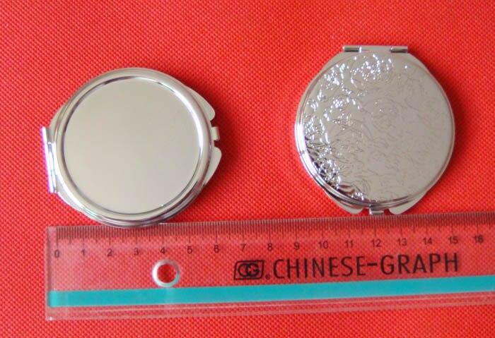 Ücretsiz kargo 10 adet Gümüş Boş Kompakt Ayna Yuvarlak Metal - Cilt Bakımı Aracı - Fotoğraf 6