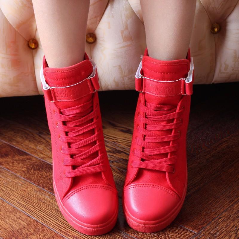 Flat High Top Canvas Women Shoes 17 Colors Spring Autumn Women's Flats Espadrilles Lace Up Casual Shoes Foot 22-24.5CM YD87 (5)