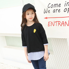 2017 Half Sleeve T-shirt Big Age Kids Girls Tee Tops Children Cotton Clothes For Summer Kids Costume Fake Two Piece Designs