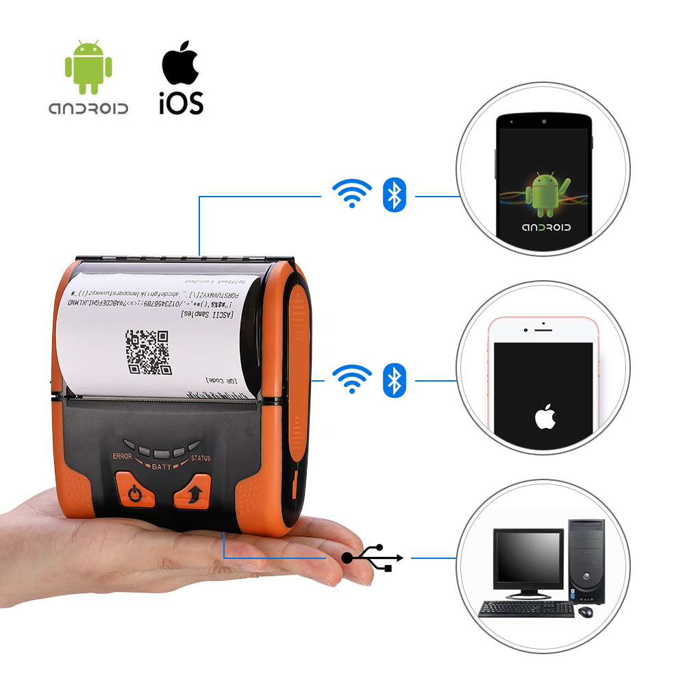 ISSYZONEPOS Mobile Portable Printer Bluetooth Wifi Manual Cut Paper Thermal Receipt Cashier Rugged Printer Loyverse Android iOS in Printers from Computer Office