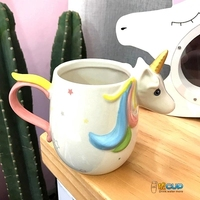 2019 new style Nordic Wind Dream Rainbow Unicorn Ceramic Cup Milk Coffee Cup Pink Girl Heart Student Water Cups mugs