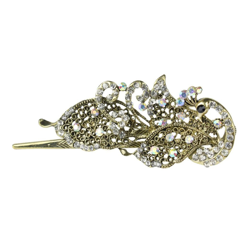 Lovely Vintage Jewelry Crystal Peacock Hair Clips Hairpins- For Hair Clip Beauty Tools