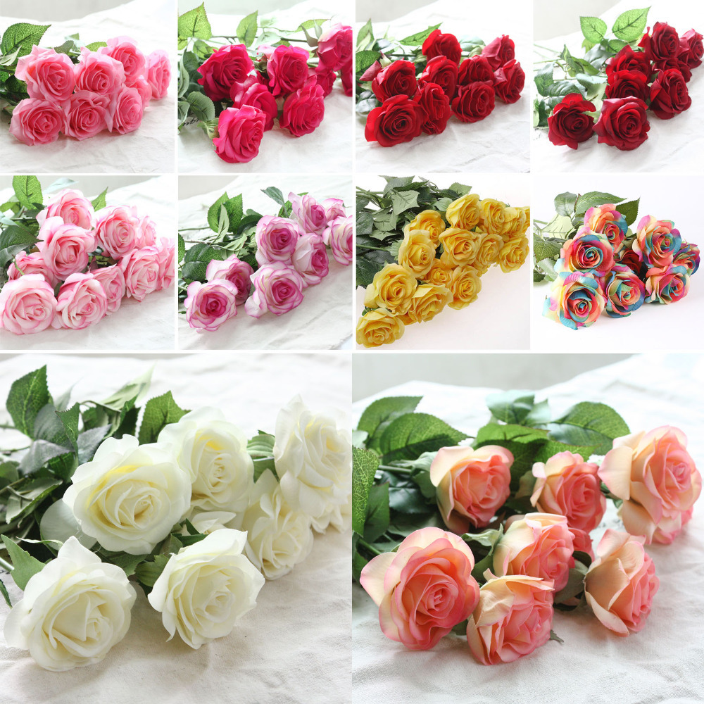 Zonaflor silk artificial flowers in the vase modern home decoration zonaflor 10pcslot artificial flowers rose 2017 new valentines day home decor real touch silk mightylinksfo