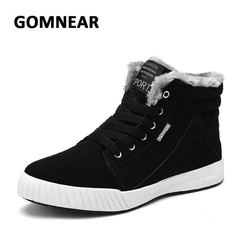 ФОТО GOMNEAR Men's Velvet Fur Warm Skateboarding Shoes Breathable  Comfortable Non-slip Walking Sneakers Flexible Trekking Boots