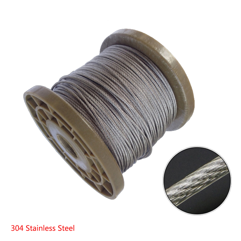 5 Meters 304 Stainless Steel 2mm 3mm 4/5/6/8mm Diameter Steel PVC Coated Flexible Wire Rope Cable Transparent  Clothesline 7*7