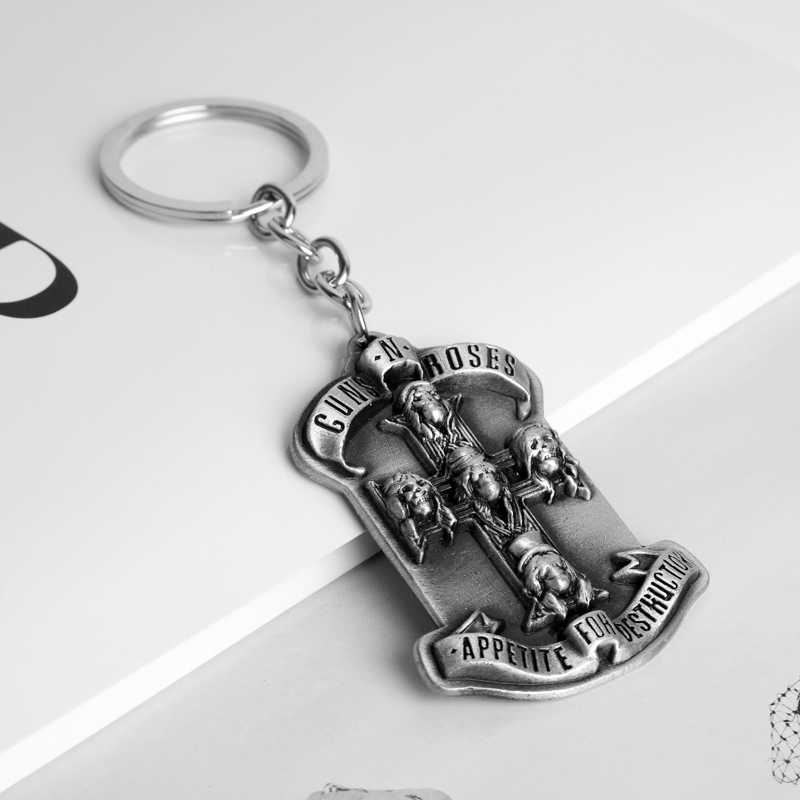 dongsheng New Jewelry Guns N Roses Keychain Music Band Key Rings Metal Keyrings For Gift Chaveiro Car Keychain -50