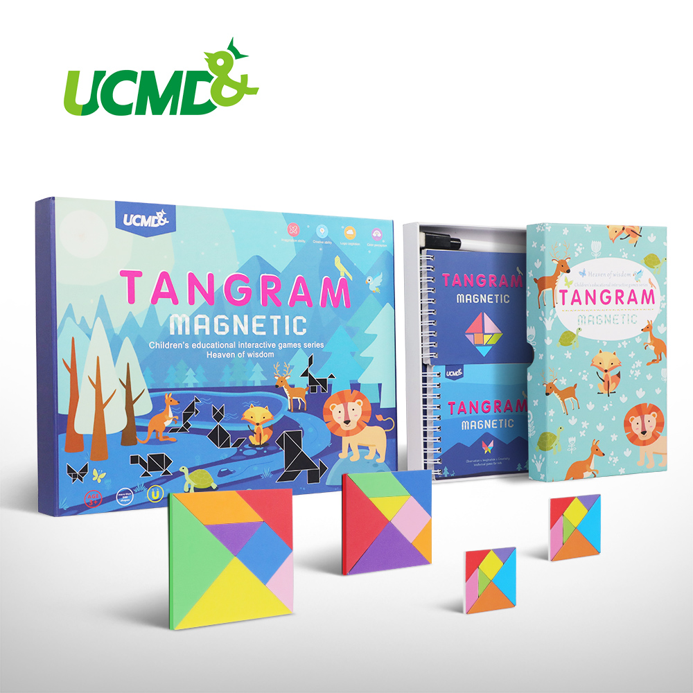 Magnetic Intelligent Educational Puzzle Toys Tangram 7 Piece EVA 3D Puzzle Brain Teaser Jigsaw Learning Game